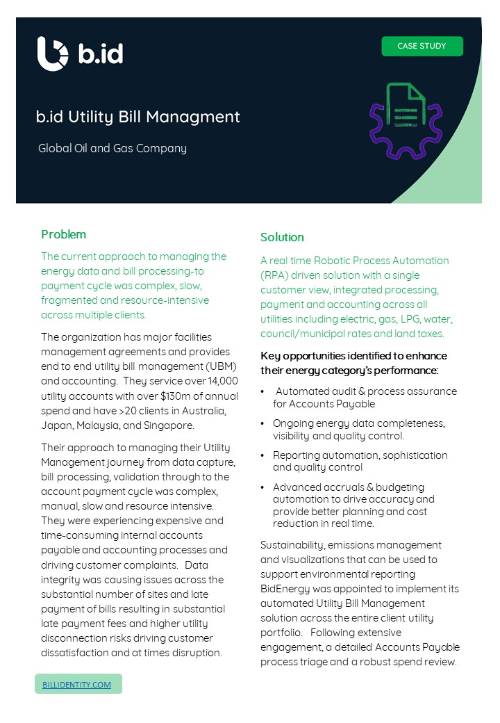 B.id Case study Utility Bill Management - Global Gas and Oil Company